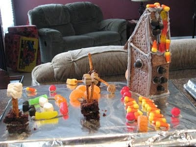 haunted gingerbread house on baking sheet