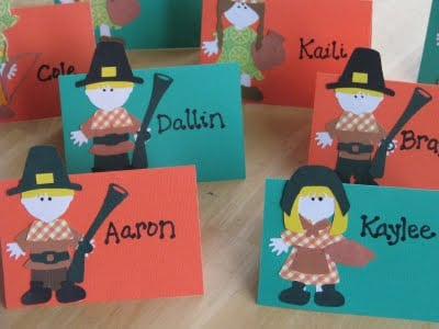 thanksgiving place cards with pilgrims on front