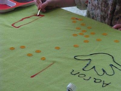 child painting on fleece fabric