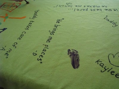 child's foot print painted on fleece fabric