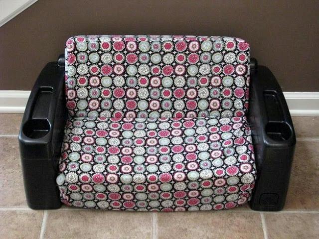 vintage step2 kids sofa painted black and reupholstered