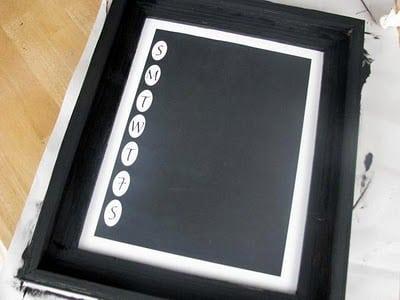 front of chalkboard menu frame