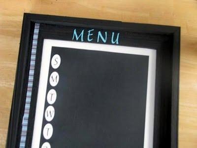 ribbon detail on chalkboard menu