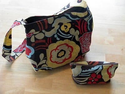 floral hand bag and matching zipper pouch