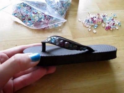 gluing beads to flip flops