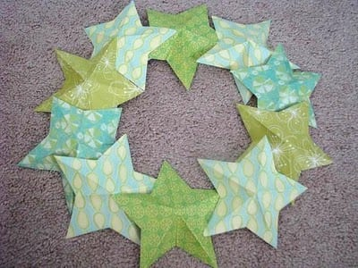 paper stars arranged on wreath base