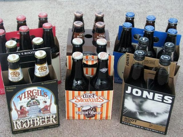 6 packs of rootbeer, different brands and varieties
