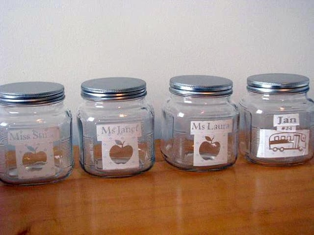 jars with contact paper stencil on front
