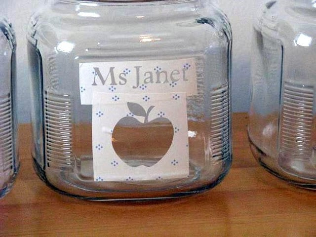 jar with apple stencil from contact paper