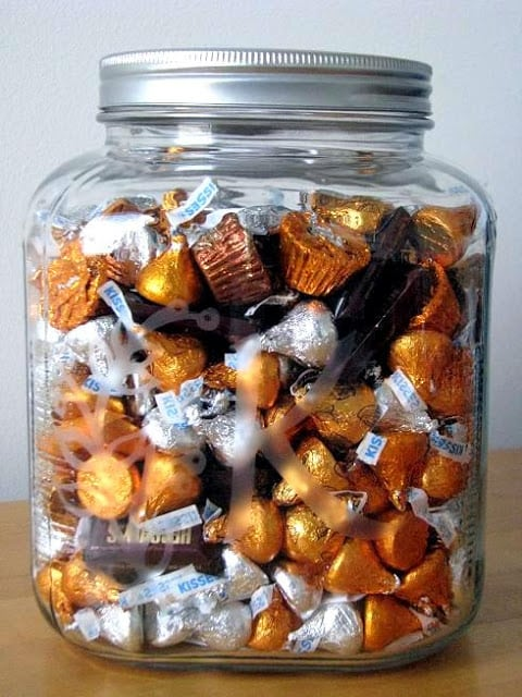 acid etched candy jar filled with Hershey kisses