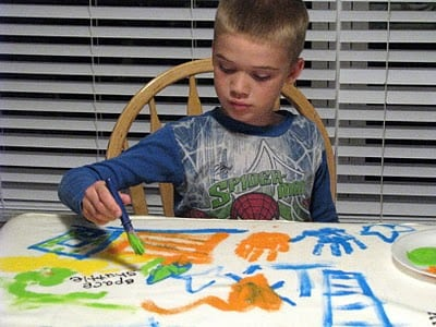 child painting fleece blanket