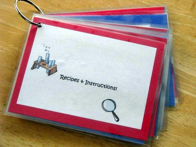 laminated science instructions and recipe cards