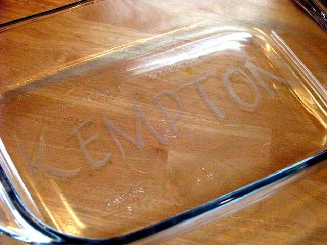 acid etched casserole dish