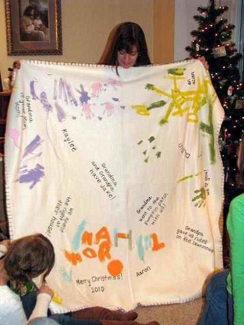 grandma opening fleece blanket gift