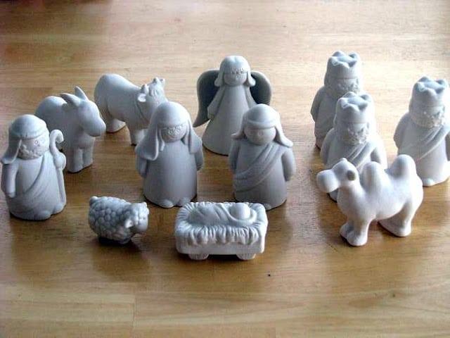unpainted ceramic nativity set