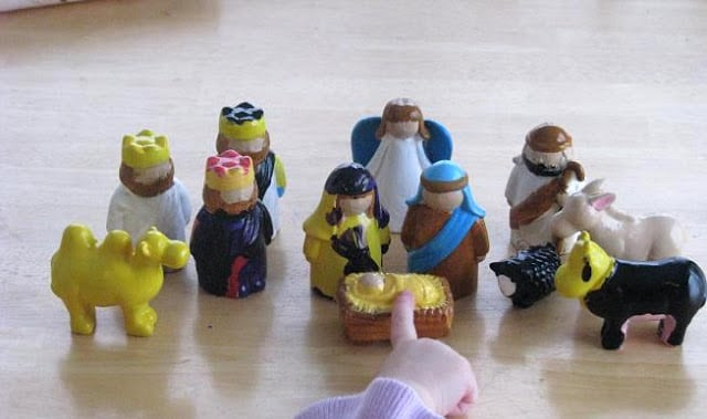 painted nativity set