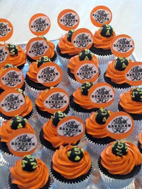 bakugan cupcakes with orange frosting