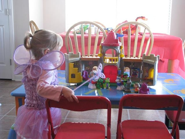 castle toys set up on table