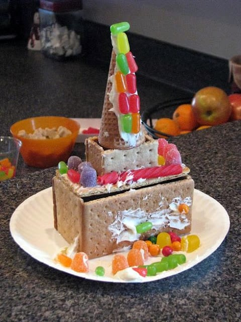 gingerbread castle on paper plate