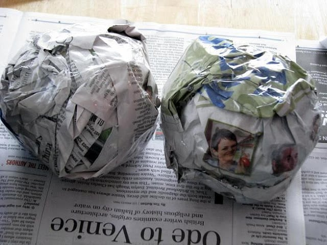 two balls of newspaper