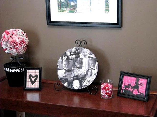 console table with valentine decor