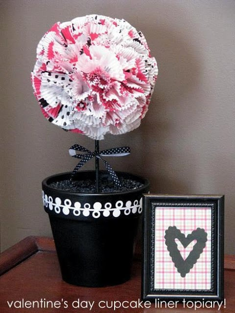 valentine topiary on console table