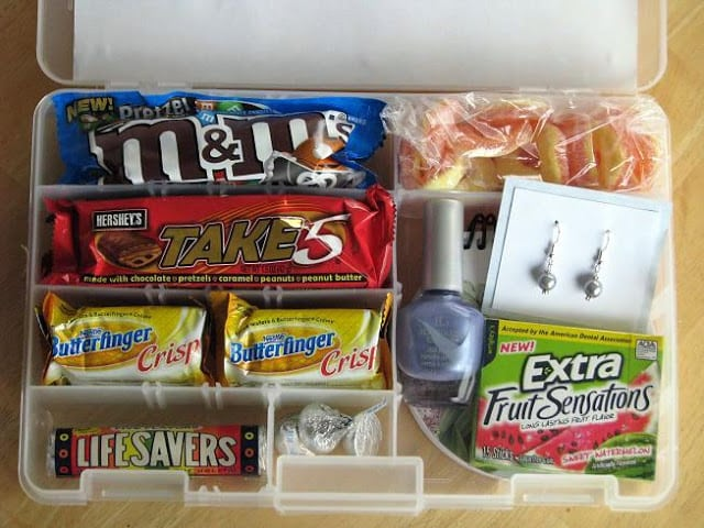 plastic organizer container filled with candy