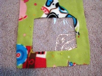 vinyl pinned to fleece fabric
