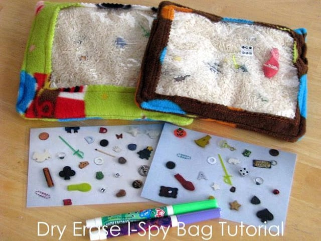 2 I-spy rice bags on table with markers
