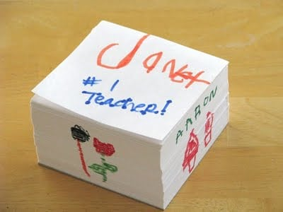 decorated white memo note pad cube