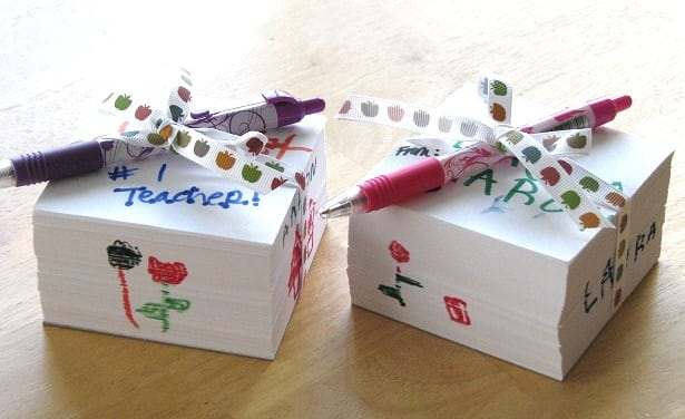 two decorated memo cubes for teacher gift