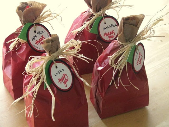 4 red painted bags that look like apples