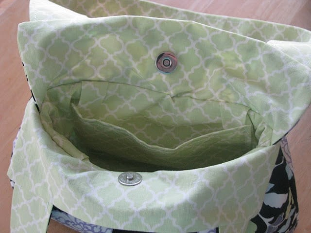 inside view of handbag with pockets and lining