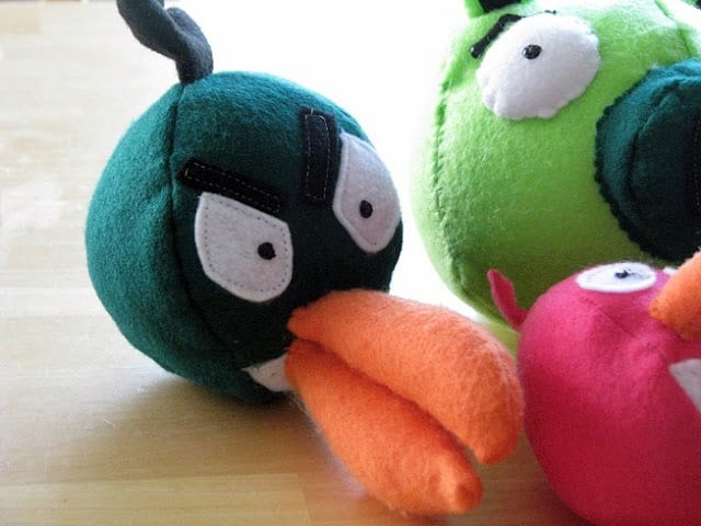 green angry bird with orange beak