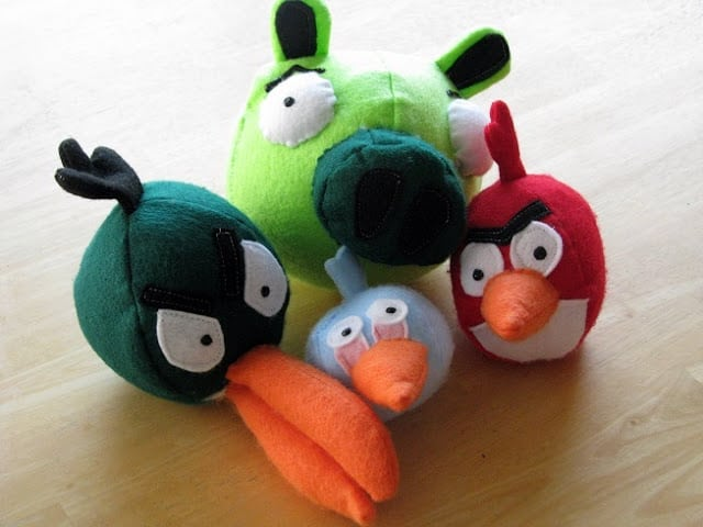 felt Angry Birds softies on table