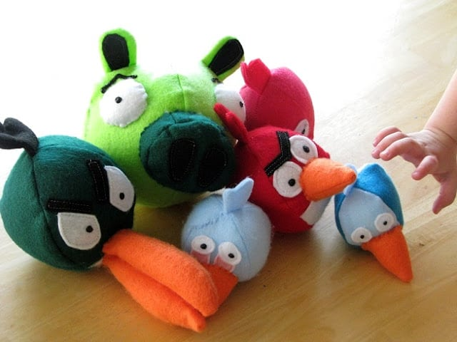 pile of angry birds on table