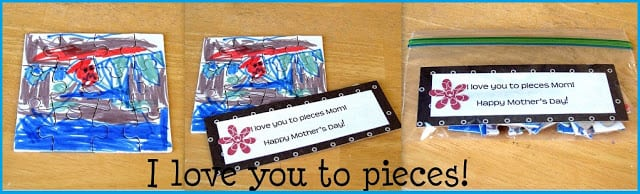 blank puzzled colored by child for gift