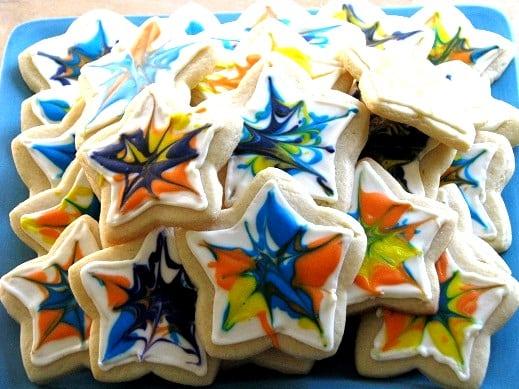 plate of tie dyed sugar cookies