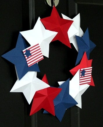 red white and blue stars glued to wreath