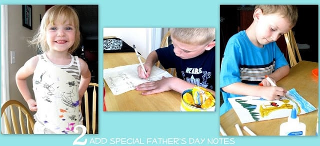kids making father's day cards