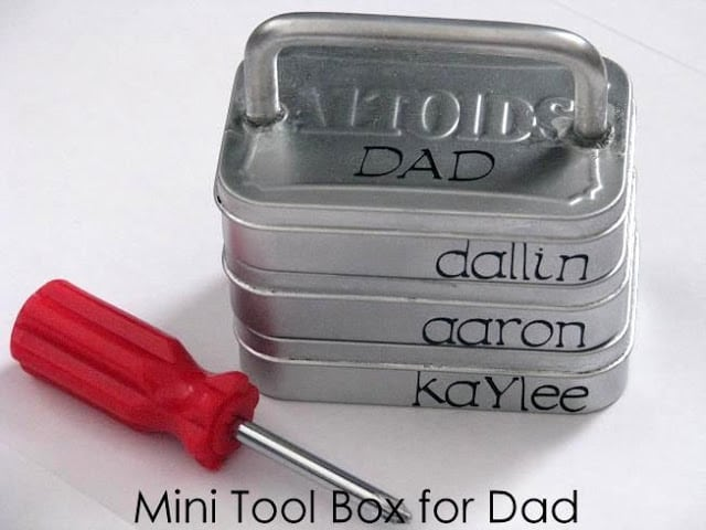 mini tool box for dad made out of altoid tins