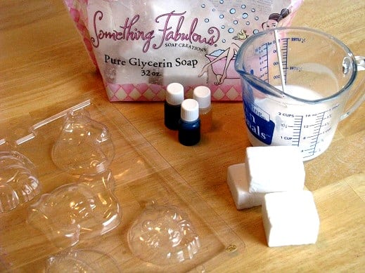 soap mold, soap coloring and scents, blocks of glycerin soap