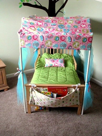 wooden toddler bed with canopy made out of pvc pipe