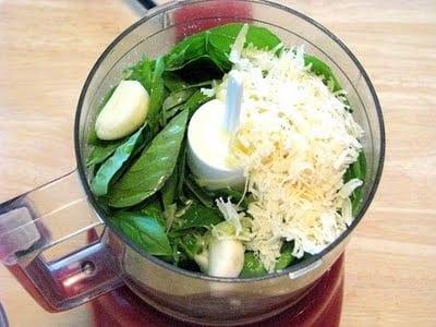 pesto ingredients in food processor bowl