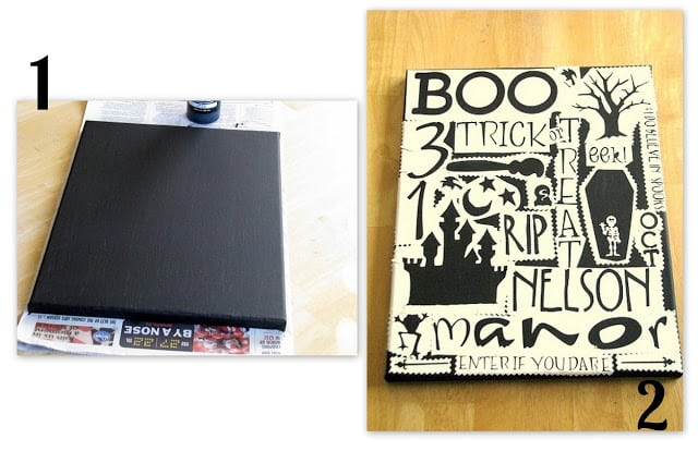 canvas painted with black and covered with stencils