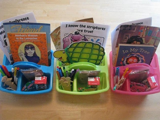 activity totes filled with snacks and activities for kids