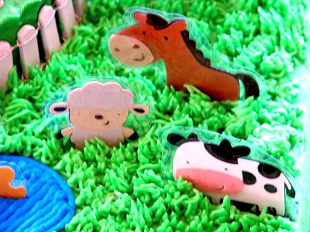 laminated animals on birthday cake