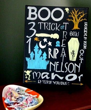 halloween subway art next to candy dish