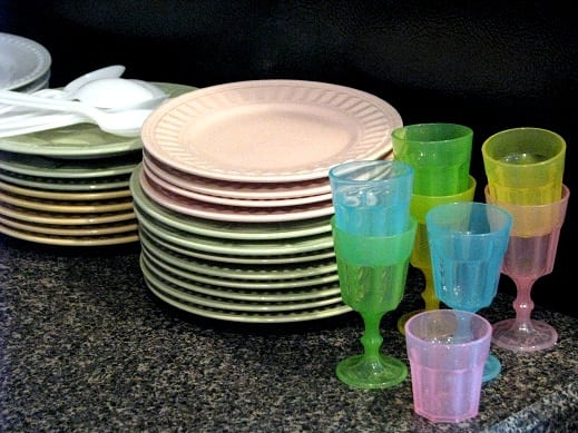 stack of small plates and cups for party