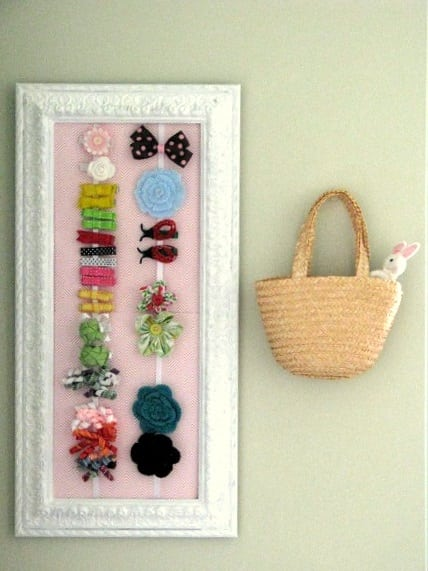 framed hair bow holder on wall